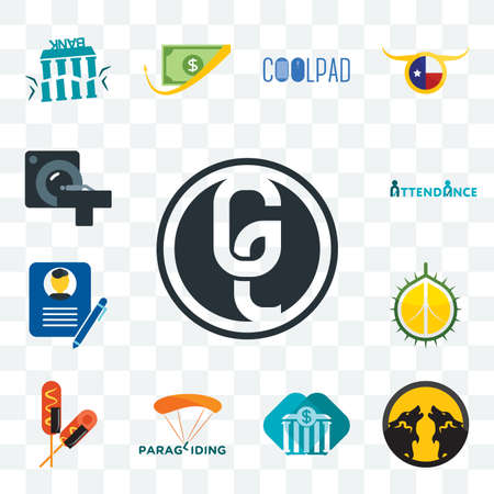 Set Of 13 transparent editable icons such as ge white, pack wolf, all bank, paragliding, corn dog, durian, biography, attendance, ct scan, web ui icon
