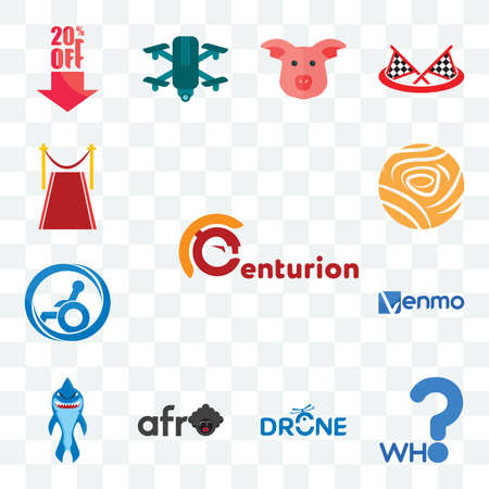 Set Of 13 transparent editable icons such as centurion, who, drone photography, afro, shark mascot, venmo, handicap accessible, golden rose, carpet, web ui icon pack