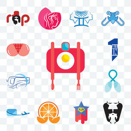 Set Of 13 transparent editable icons such as food photography, vikings, superstar, mandarin, air mail, lung cancer, bus company, all in one, ass, web ui icon pack