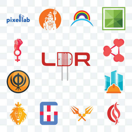 Set Of 13 transparent editable icons such as ldr, scs, trishul, generic hospital, judah and the lion, general contractor, sikhism, share png, women empowerment, web ui icon pack