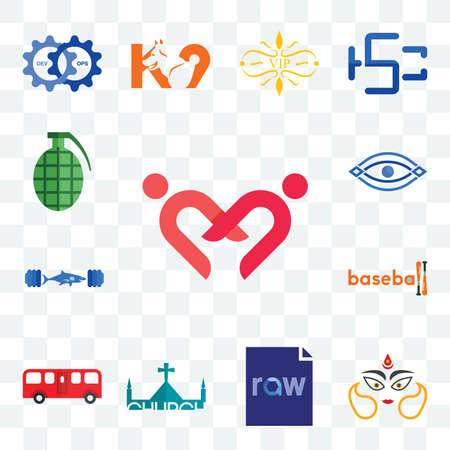 Set Of 13 transparent editable icons such as friendship, durga, raw file, church, bus, baseball, gymshark, eye, grenade, web ui icon pack