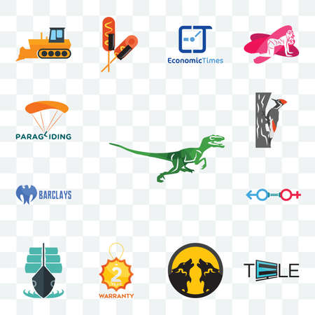 Set Of 13 transparent editable icons such as velociraptor, tele, pack wolf, 2 year warranty, tall ship, sex store, barclays bank, woodpecker, paragliding, web ui icon