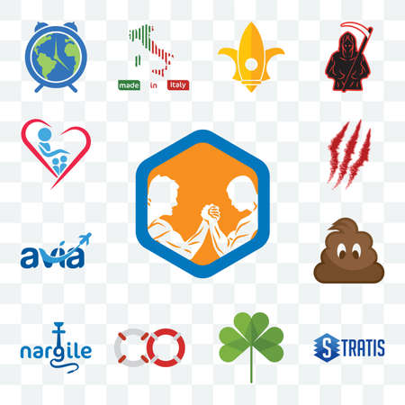 Set Of 13 transparent editable icons such as arm wrestling, stratis, three leaf clover, life preserver, nargile, poop, avia, claw mark, orphanage, web ui icon pack