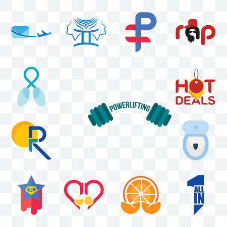 Set Of 13 transparent editable icons such as powerlifting, all in one, mandarin, senior care, superstar, toilet bowl, pr, hot deals, lung cancer, web ui icon pack Illusztráció
