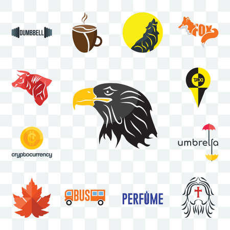 Set Of 13 transparent editable icons such as eagle head, maple leaf, umbrella, cryptocurrency, bull, web ui icon pack