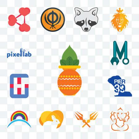 Set Of 13 transparent editable icons such as kalash, ganesh, trishul, rabit, rainbow, pier 39, generic hospital, photo mechanic, pixellab, web ui icon pack