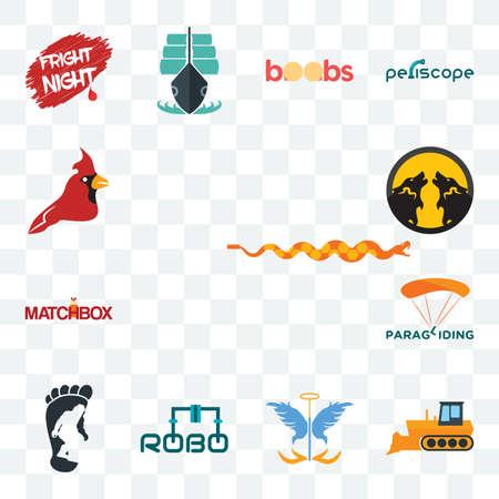 Set Of 13 transparent editable icons such as rattlesnake, dozer, guardian angel, robo, bigfoot, paragliding, matchbox, pack wolf, cardinal bird, web ui icon