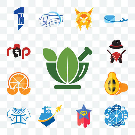 Set Of 13 transparent editable icons such as ayurvedic, ferris wheel, superstar, , papaya, mandarin, outlaws, rap, web ui icon pack
