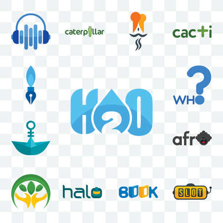 Set Of 13 transparent editable icons such as h2o, slot machine, book, halo, hand holding plant, afro, paper boat, who, pen nib, web ui icon pack Illusztráció