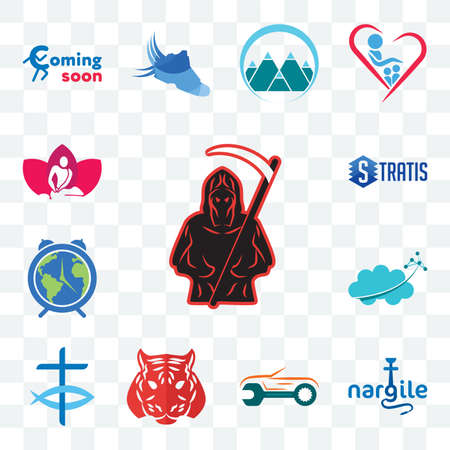 Set Of 13 transparent editable icons such as grim reaper, nargile, auto body repair, tiger, christian fish, nervous system, earth hour, stratis, massage therapist, web ui icon pack