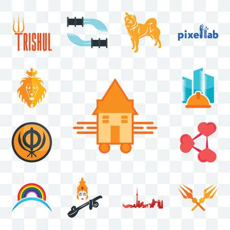 Set Of 13 transparent editable icons such as tiny house, trishul, toronto skyline, saraswati, rainbow, share png, sikhism, general contractor, judah and the lion, web ui icon pack Illusztráció