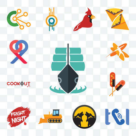 Set Of 13 transparent editable icons such as tall ship, , pack wolf, dozer, fright night, corn dog, cookout, javelin, double p, web ui icon