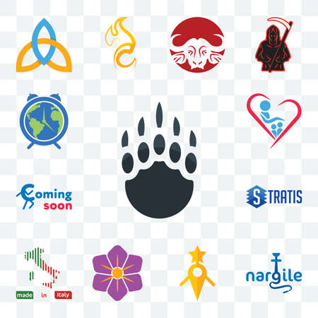 Set Of 13 transparent editable icons such as grizzly claw, nargile, guidestar, saffron, made in italy, stratis, coming soon, orphanage, earth hour, web ui icon pack Illusztráció