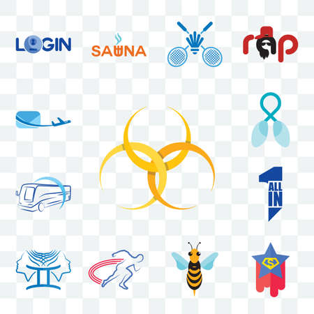 Set Of 13 transparent editable icons such as hazardous waste, superstar, hornet, track and field, , all in one, bus company, lung cancer, air mail, web ui icon pack