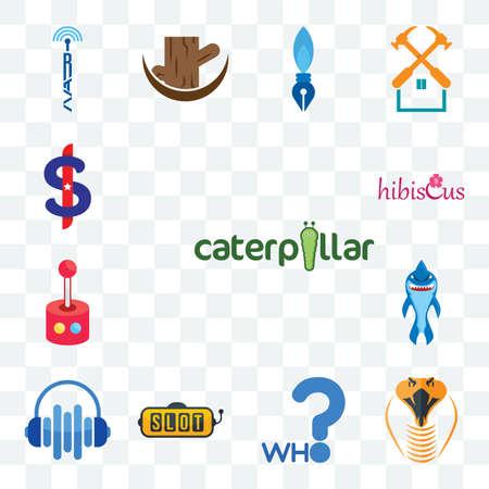 Set Of 13 transparent editable icons such as caterpillar, snake head, who, slot machine, audio visual, shark mascot, retropie, hibiscus, us dollar, web ui icon pack