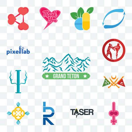 Set Of 13 transparent editable icons such as grand teton, shemale, taser, hrd, jewellry, ottoman empire, psycology, krav maga, pixellab, web ui icon pack