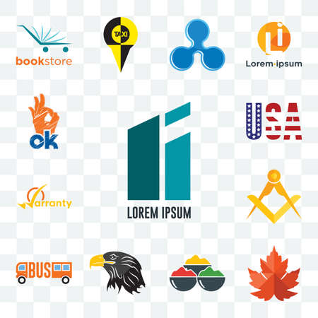Set Of 13 transparent editable icons such as lorem ipsum, maple leaf, spice, eagle head, , masonic, warranty, american flag, web ui icon pack