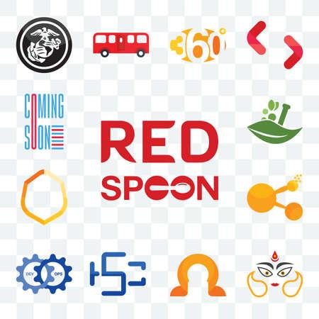 Set Of 13 transparent editable icons such as spoon on its, durga, omega, hsc, devops, bitconnect, crest, ayurvedic, coming soon, web ui icon pack Illusztráció