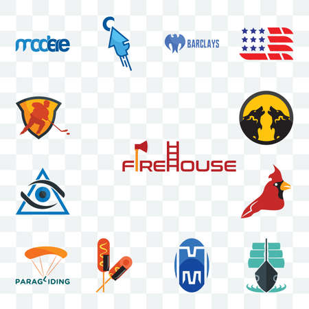 Set Of 13 transparent editable icons such as firehouse, tall ship, double m, corn dog, paragliding, cardinal bird, third eye, pack wolf, power play hockey, web ui icon