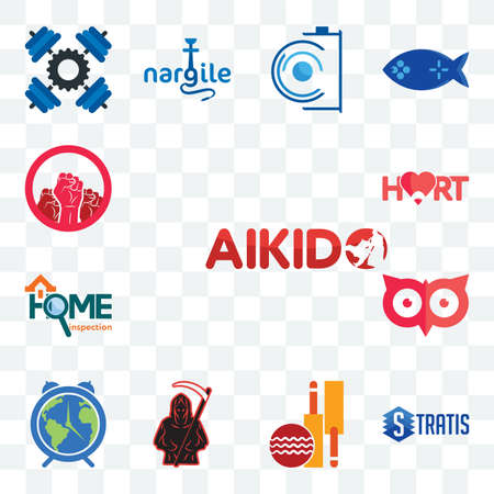 Set Of 13 transparent editable icons such as aikido, stratis, cricket club, grim reaper, earth hour, minimal owl, home inspection, hart, social justice, web ui icon pack Illusztráció