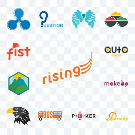 Set Of 13 transparent editable icons such as rising, warranty, , eagle head, pic, auto shop, fist, web ui icon pack Illusztráció