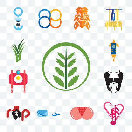 Set Of 13 transparent editable icons such as fern, culture club, ass, air mail, rap, vikings, food photography, stellar, aloe vera, web ui icon pack
