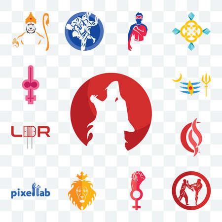 Set Of 13 transparent editable icons such as kurt, krav maga, women empowerment, judah and the lion, pixellab, scs, ldr, mahadev, shemale, web ui icon pack Illusztráció