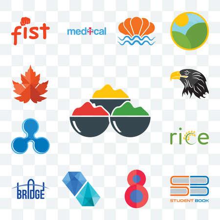 Set Of 13 transparent editable icons such as spice, student book, number 8, diamond, bridge, , ripple, eagle head, maple leaf, web ui icon pack