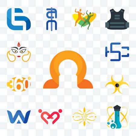 Set Of 13 transparent editable icons such as omega, science, vip, friendship, a & w, biohazard, 360 degree, hsc, durga, web ui icon pack Illusztráció
