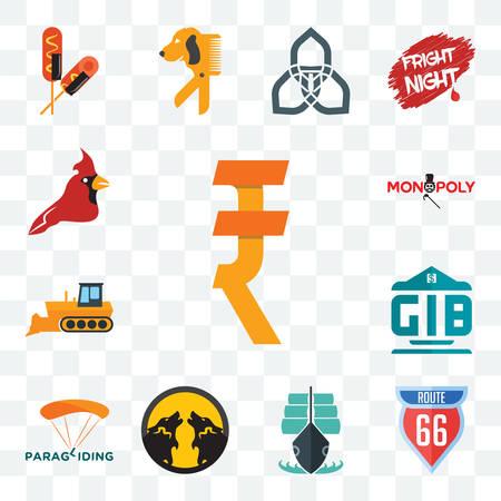 Set Of 13 transparent editable icons such as rupee, route 66, tall ship, pack wolf, paragliding, generic bank, dozer, monopoly, cardinal bird, web ui icon Illusztráció