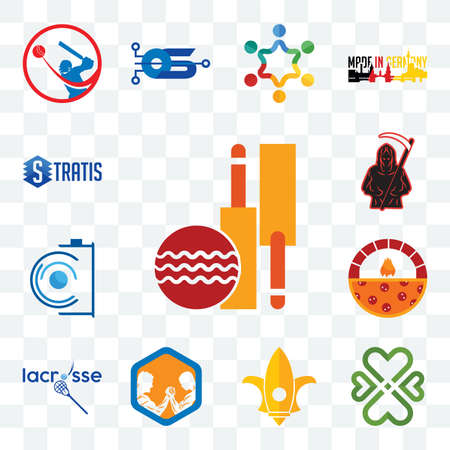 Set Of 13 transparent editable icons such as cricket club, four  hearts, lis, arm wrestling, lacrosse, brick oven pizza, camera, grim reaper, stratis, web ui icon pack