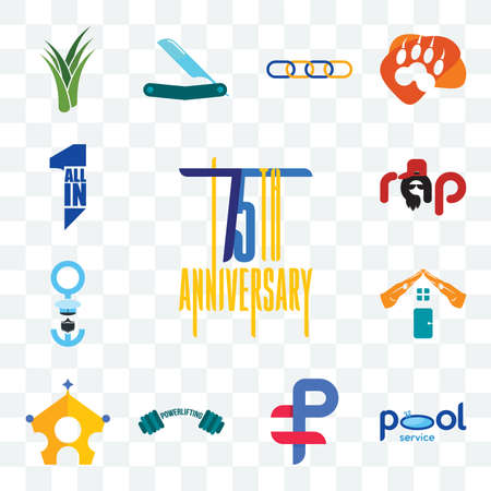 Set Of 13 transparent editable icons such as 75th anniversary, pool service, ruble, powerlifting, royal family, realestate, seaman, rap, all in one, web ui icon pack Illusztráció