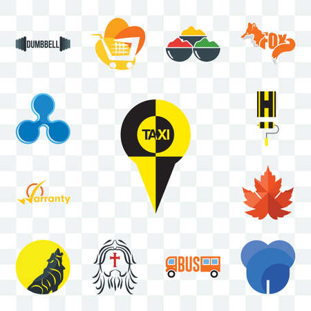 Set Of 13 transparent editable icons such as, dent, maple leaf, warranty, highway, ripple, web ui icon pack