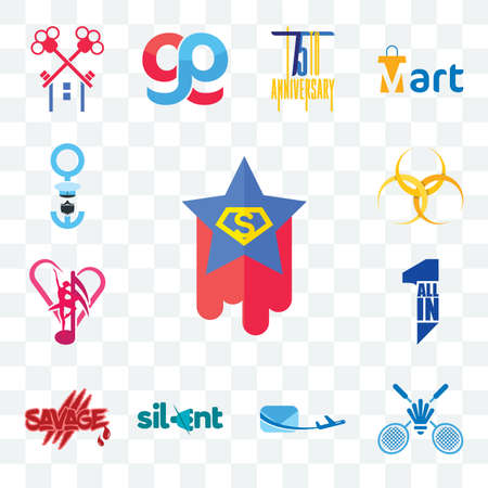 Set Of 13 transparent editable icons such as superstar, badminton club, air mail, silent, savage, all in one, culture hazardous waste, seaman, web ui icon pack Illusztráció