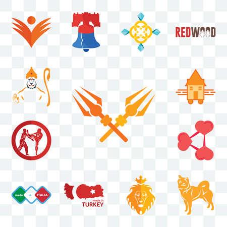 Set Of 13 transparent editable icons such as trishul, shiba inu, judah and the lion, made in turkey, italia, share png, krav maga, tiny house, hanuman, web ui icon pack