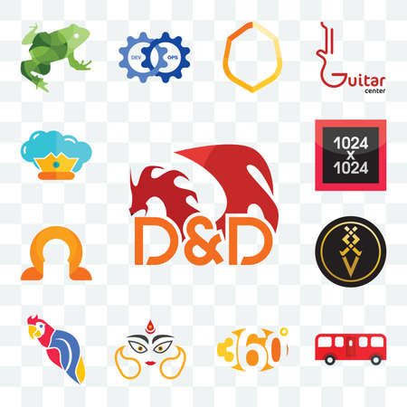 Set Of 13 transparent editable icons such as dungeons and dragons, bus, 360 degree, durga, parrot, luxury, omega, 1024x1024, supreme, web ui icon pack Stock fotó - 151500978