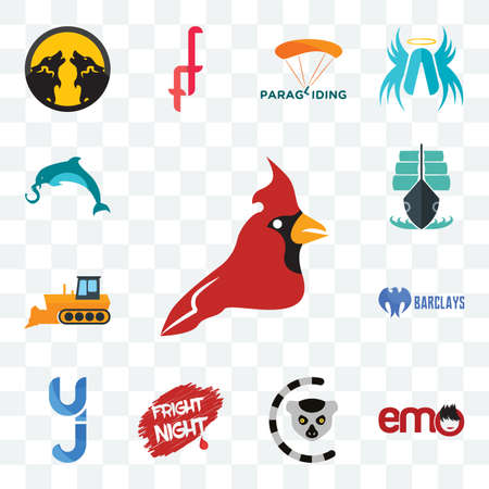 Set Of 13 transparent editable icons such as cardinal bird, emo, lemur, fright night, yj, barclays bank, dozer, tall ship, elephand dolphin, web ui icon pack