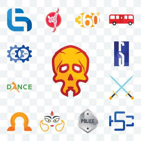 Set Of 13 transparent editable icons such as skull, hsc, generic police, durga, omega, excalibur, dance, rs, devops, web ui icon pack