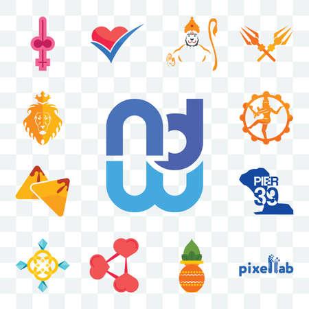Set Of 13 transparent editable icons such as wnd, pixellab, kalash, share png, jewellry, pier 39, samosa, nataraj, judah and the lion, web ui icon pack Stock fotó - 151501040