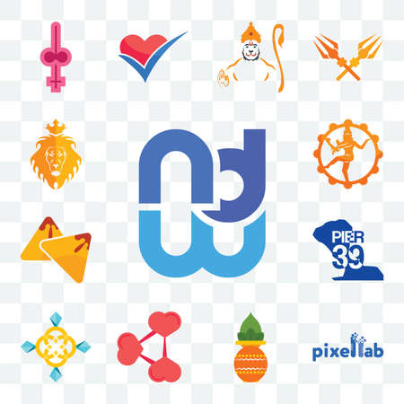 Set Of 13 transparent editable icons such as wnd, pixellab, kalash, share png, jewellry, pier 39, samosa, nataraj, judah and the lion, web ui icon pack Illusztráció