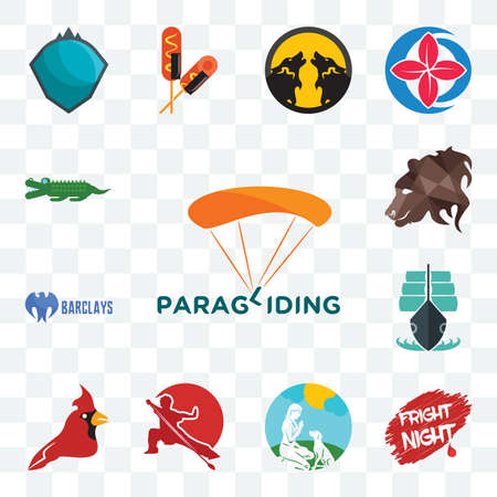 Set Of 13 transparent editable icons such as paragliding, fright night, dog trainer, wushu, cardinal bird, tall ship, barclays bank, bear profile, croc, web ui icon pack 向量圖像