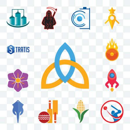 Set Of 13 transparent editable icons such as holy trinity, batsman, corn stalk, cricket club, stingray, rocketship, saffron, o fire, stratis, web ui icon pack