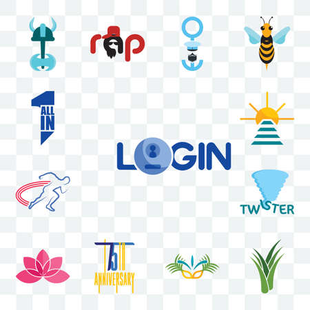 Set Of 13 transparent editable icons such as login, aloe vera, carnaval, 75th anniversary, lotos, twister, track and field, rise shine, all in one, web ui icon pack