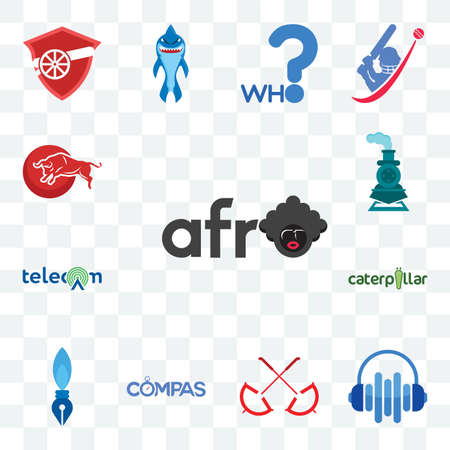 Set Of 13 transparent editable icons such as afro, audio visual, umbrella, compas, pen nib, caterpillar, , bull, web ui icon pack