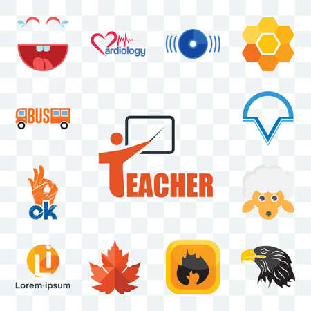 Set Of 13 transparent editable icons such as teacher, eagle head, flammable, maple leaf, , v circle, web ui icon pack