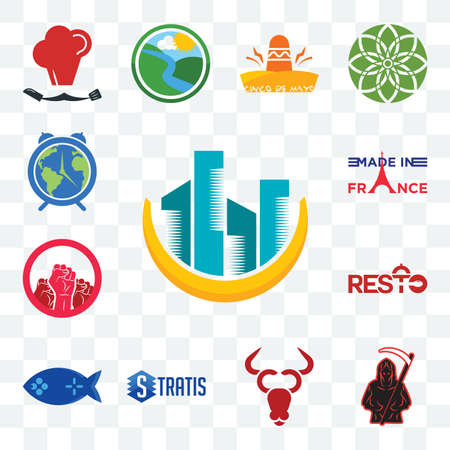 Set Of 13 transparent editable icons such as construction, grim reaper, cattle company, stratis, fishing game, resto, social justice, made in france, earth hour, web ui icon pack Illusztráció