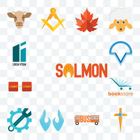 Set Of 13 transparent editable icons such as salmon, church cross, , two hands, spanner, bookstore, turn, v circle, lorem ipsum, web ui icon pack