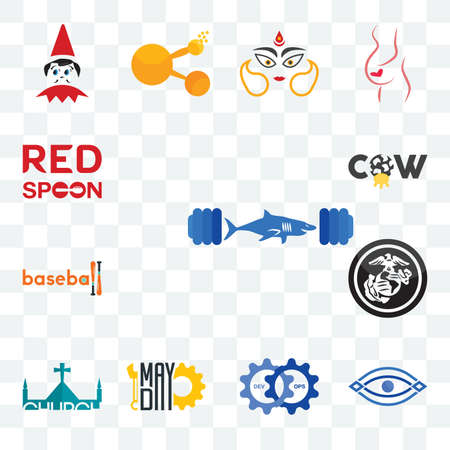 Set Of 13 transparent editable icons such as gymshark, eye, devops, mayday, church, usmc, baseball, cow, spoon on its, web ui icon pack