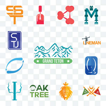 Set Of 13 transparent editable icons such as grand teton, ottoman empire, judah and the lion, oaktree, psycology, quintessentially, retweet, lineman, stu, web ui icon pack