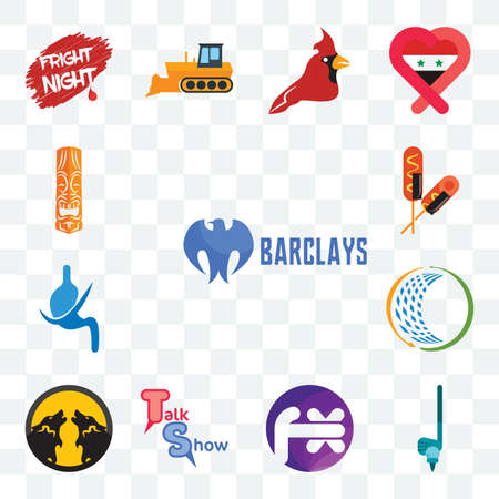 Set Of 13 transparent editable icons such as barclays bank, , fx white, talk show, pack wolf, general trading, gastroenterology, corn dog, tiki, web ui icon Ilustracja